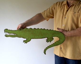 "Alligator metal wall art - 28"" long - choose your color with rust patina - nautical crocodile metal wall art sign - alligator steel wall art"