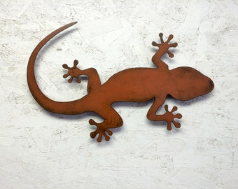 "Lizard Gecko metal wall art - 36"" long x 23.4"" tall - choose your color with rust patina - lizard art wall art Squamata Gekkonidae metal art"