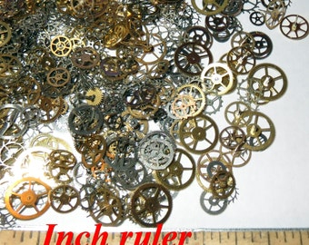 100 GEARS ONLY STEAMPUNK Pieces Vintage Watch Lot Steam Punk Wheels Cogs Parts Industrial