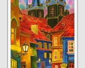 Acrylic GICLEE Print Canvas Print Of Original Acrylic Painting SILK Painting Fine Art Print Cityscape Painting Europe Prague