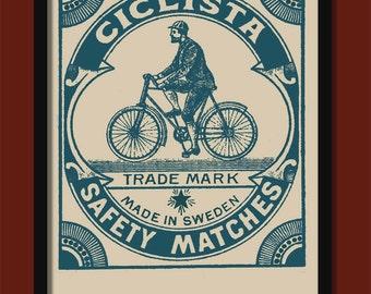 Vintage Matchbox  Label Print. The Cyclist . Large A2 ( 40 x 60 cm)  Poster