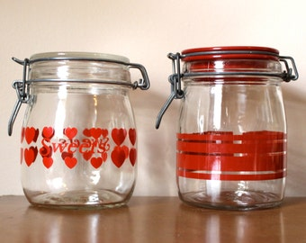 Vintage Set of Red Heart and Stripe Glass Canister Jars