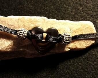 Handmade Hematite Heart  Om  Bracelet,mala bracelet, boho,ribbon, little black bracelet, simple bracelet, heart,love, intentional jewellery