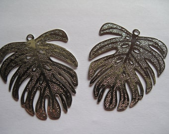 2 Silver Leaf Pendants