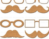 Cork Glasses and Mustache Clipart Clip Art Digital Scrapbooking Commercial Use - printable clipart - Instant Download  - DP297