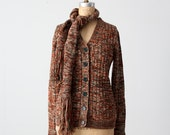 vintage 70s cardigan sweater with scarf