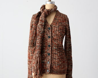 vintage 70s cardigan with scarf, ribbed knit sweater