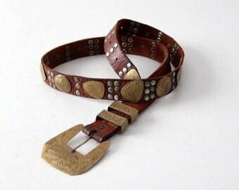 vintage concho belt, gold medallion brown leather belt