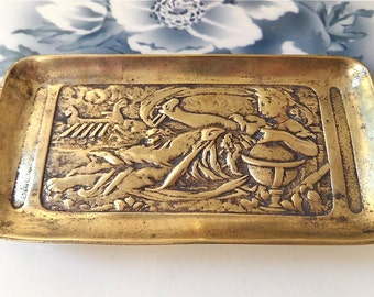 Antique French Art Nouveau  Bronze Pin Tray  1920 Signed