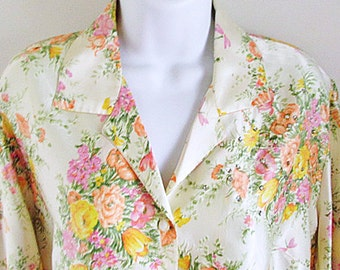 Vintage Floral Satin Blouse with Rhinestones / Romantic / L