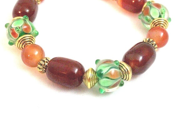 Lampwork and Red Agate Bracelet