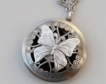 Scent Locket,Silver Locket,Photo Locket, Butterfly Locket, Silver Bridesmaid Necklace,Wedding Necklace