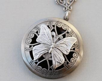 Scent Locket,Silver Locket,Photo Locket, Butterfly Locket, Silver Bridesmaid Necklace,Wedding Necklace