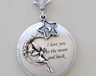 Locket,Fairy Locket,Moonlight,Star,Silver locket-I love you to the moon and back ,Jewelry Gift, Bridesmaid Necklace,Wedding Necklace