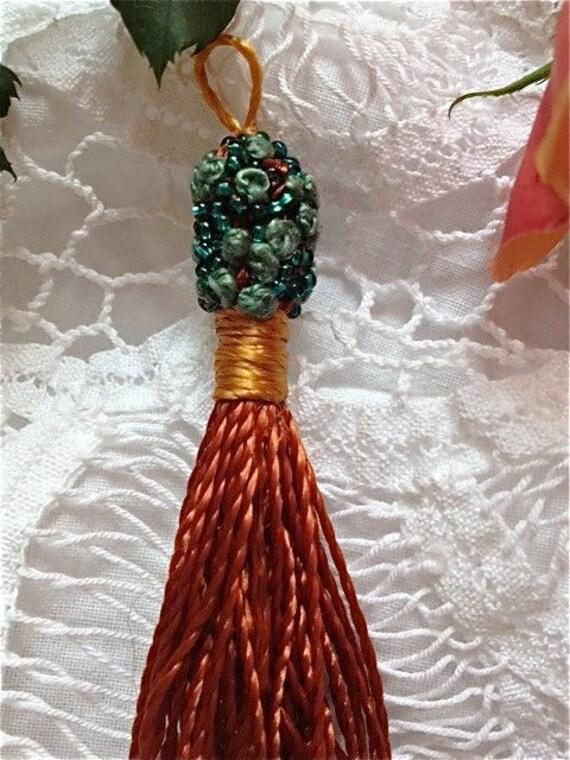 FRENCH PASSEMENTERIE TASSEL Teal Blue, Gold and Rust, Lamp Pull Ornament, Pillow Tassel, Scarf Tassel, Boudoir Ornament