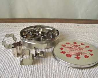 Vintage Cookie Cutter Set Miniature Set of 12 Fancy Shapes Aspic Jelly Cutter Set NIB Stars Hearts Diamond Clover Holiday Baking 1990s