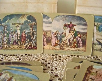 Antique Stereoview Cards 3D View Cards Religious Jesus Christ Birth Crucifixion Resurrection Bethlehem Set of 24 Stereo View Cards ca. 1905