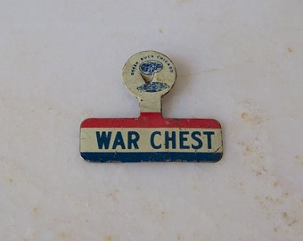 Vintage War Pin World War II War Chest Lapel Pin Green Duck Chicago Pinch Back Pin Trade Council Patriotic USA Pride Vintage 1940s
