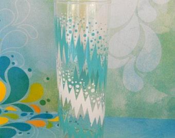 1950's Turquoise Zig Zag Glass Tumbler