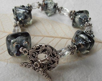 Crystal Night Lampwork, Rock Crystals, Bali Silver Bracelet