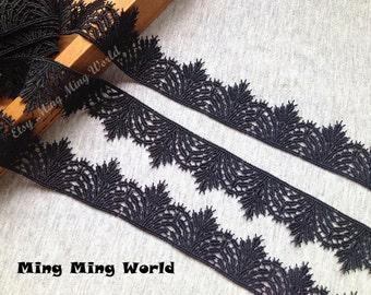 Black Lace Trim- 2 Yards Black Leaf Lace Trim (L281)