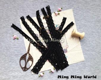 5 PCS Black Lace Zippers Supplies Trim, Fabric Crafts Alterations Supplies Handmade Fabric Supplies(Z7)