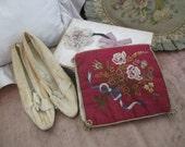 Antique French 1900s Silk Lingerie Hankie Holder Maroon Pink Embroidered Flower Bouquet V4