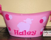 Personalized Pink Plastic Easter Basket, Customized Basket, Personalized Kids Storage, Toy Storage Basket, Easter Basket, Gift Basket,