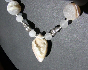 Gray Drusy Snail Necklace