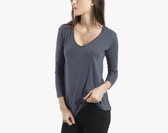 Deep vneck womens tunic top, longsleeve grey cotton vneck top, oversize flowy women's blouse, plain cotton vneck longsleeve top