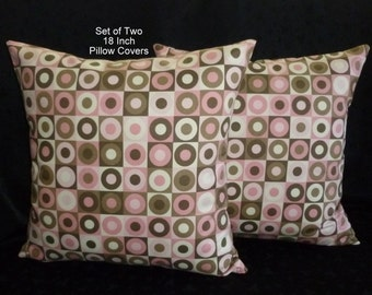 Decorative Pillows, Throw Pillows, Pillow Covers, Accent Pillows - Set of Two 18 Inch - Shades of Pink and Brown with Ivory