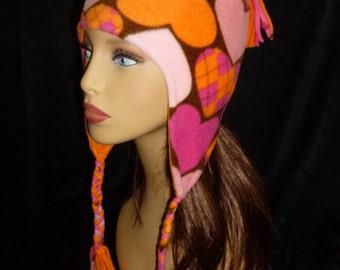 Ear Flap Hat, Fleece Beanie, Fleece Hat, Reversible Hat - Heart Print and Solid Orange - Adult Medium
