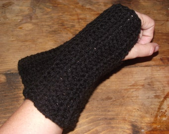 Black Crochet Fingerless Glove/ Wrist Warmers