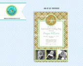 Monogram 3 Photo Invitation Birthday Party Printable, Sweet 16 Sixteen, Gold glitter, Mint, Brown, Gold, overlapping circle floral design