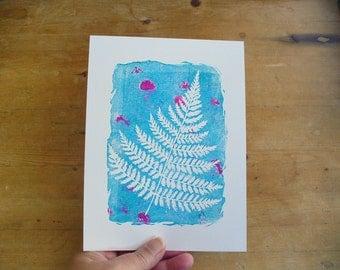woodland fern print - linocut print, wall art