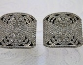 Magnificent & Sparkly Pair of Antique Art Deco Crystal Rhinestone Shoe Buckle Clips