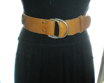 Vintage Brown Leather Western Silver Concho Belt