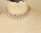 90s Pearl Rhinestone Statement Collar Necklace