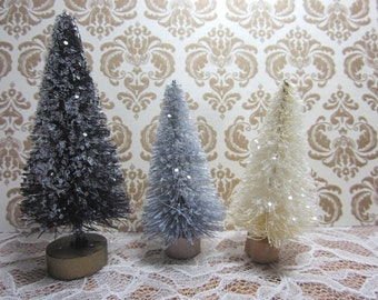"Bottle Brush Christmas Trees Black Gray White Silver  table decor 3"" Set of 3"