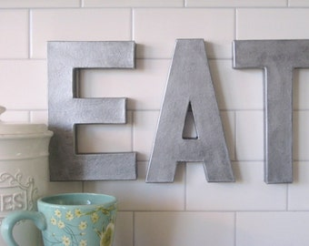 Metal Zinc Letters EAT sign wall art decor wood vintage style Paper mache Faux