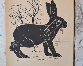 Vintage Winchester Western Jack Rabbit Target shooting Paper c. 1940s collectible wall art