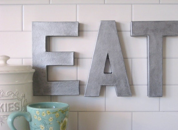 Vintage Letters Wall Decor : Metal zinc letters eat sign wall art decor wood vintage style