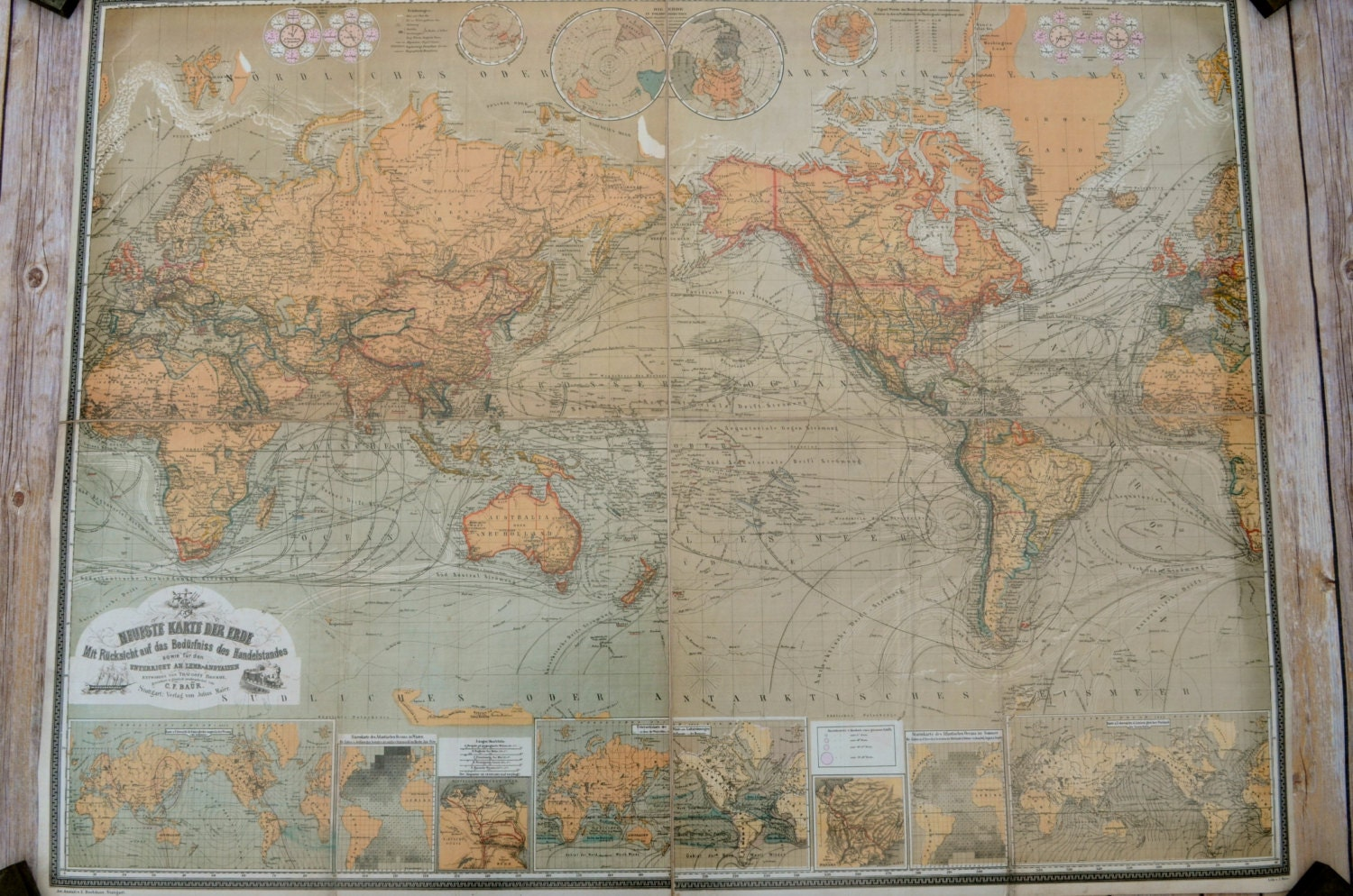 Vintage World Map Poster 1870 Map of the World by WestofChelsea