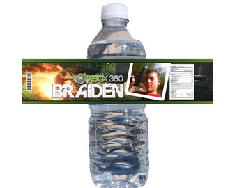 Xbox Gamer Water Bottle (with Invites) Label - Video Game DVD Gamer Party - Custom Unique Case DIGITAL or PRINTED