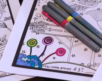 Set of 3 Kids Printable Activity Sheets Digital Coloring Workbook Page Instant Download Original Art #2