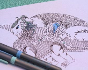 Kids Printable Coloring Page Dragon Fantasy Creature Zentange Pattern Original Art Instant pdf Digital Download