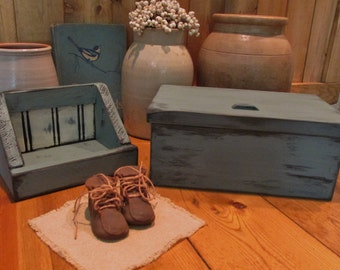 Teal Blue lidded box with leather hinges, primitive, shabby chic