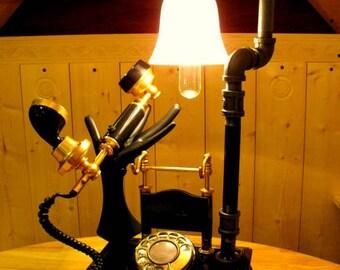 IT'S FOR YOU !! / Vintage Retro / Steampunk phone Lamp / An Original Steamworks Design