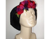 Romantic slate grey beret cap with felted roses