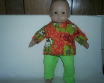 Shrek long sleeve shirt and lime green pants for 15 inch bitty baby boy or girl